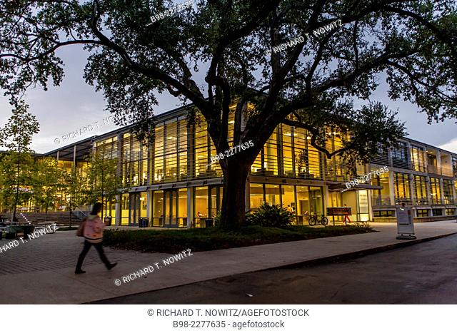 The library illuminated on the campus of Tulane University, New Orleans