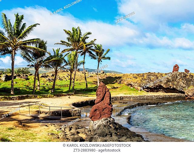 Sculpture by the Natural Swimming Pool, Hanga Roa, Easter Island, Chile