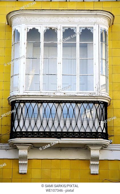 View of bay window, Tarifa, Andalusia, Spain