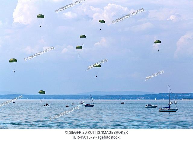 Skydivers near Langenargen, Lake Constance, Baden-Württemberg, Germany