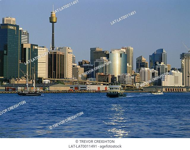 Sydney central business district,including Sydney tower,viewed from Balmain. Ferry approaching. Boats