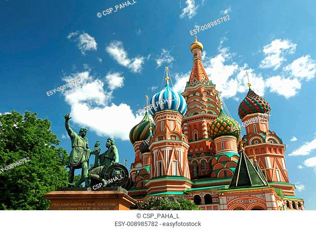 Monument to Minin and Pozharsky and Saint Basil's Cathedral on Red Square, Moscow Russia