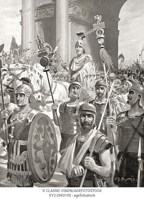 Scipio's triumphal return to Rome in 202 BC. Publius Cornelius Scipio Africanus, 236-183 BC, aka Scipio the African, Scipio Africanus-Major