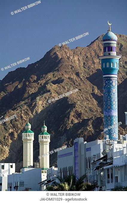 Oman, Muscat, Mutrah, Mosque Minarets along Mutrah Corniche