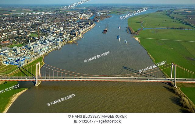 Aerial view of the Emmerich Rhine Bridge during flooding, Emmerich am Rhein, Niederrhein, North Rhine-Westphalia, Germany