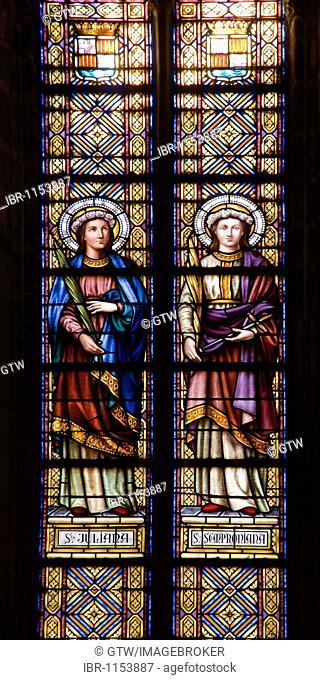 Stained-glass windows, Basilica Santa Maria del Mar, Barcelona, Catalonia, Spain, Europe