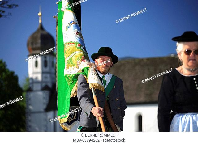 Germany, Bavaria, Fischbachau, Feast of Corpus Christi-day, traditional costum-pilgrimage, pilgrims, standard-bearers, , Upper Bavaria, Leitzachtal