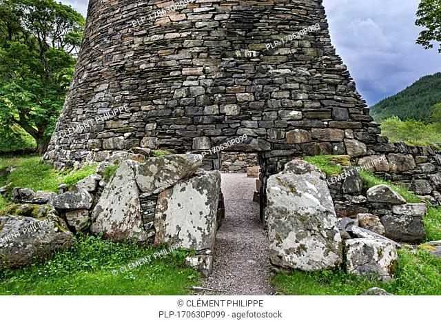 Dun Telve broch near Glenelg, showing Iron Age drystone hollow-walled structure, Ross and Cromarty, Scottish Highlands, Scotland, UK