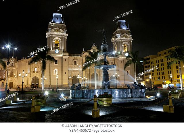 Plaza Mayor Plaza de Armas and Lima Cathedral at night  Lima, Peru