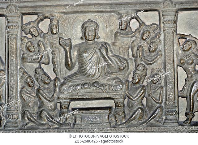 Delhi. National Museum, Buddha in Padmasana with Disciples. 3rd century A. D