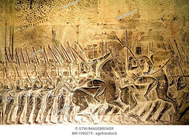 Army of King Suryavarman II in movement, South Gallery, Angkor Wat, UNESCO World Heritage Site, Siem Reap, Cambodia