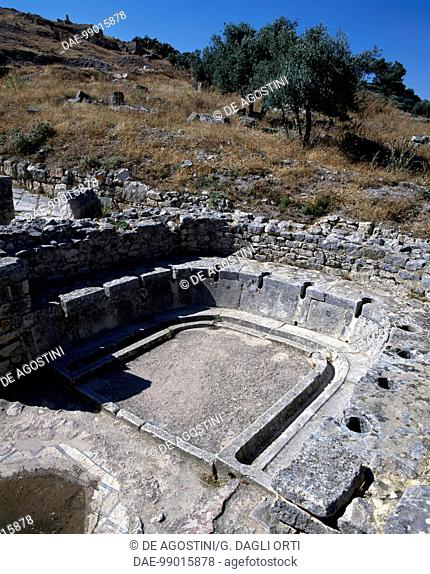 Horseshoe-shaped communal toilet, Baths of the Cyclops, ancient Roman city of Thugga or Dougga (Unesco World Heritage List, 1997), Tunisia
