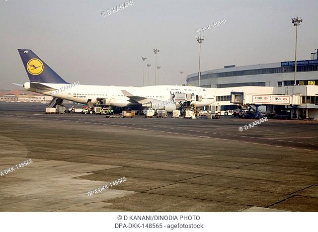 Flight preparing to take off on runway at Chattrapati Shivaji Terminal ; Santacruz ; Bombay now Mumbai ; Maharashtra ; India
