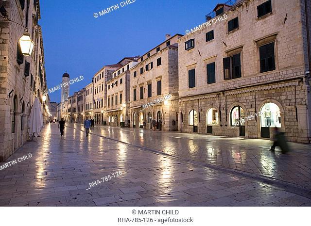 Early morning view along Stradun Street, tower of the Church of St. Saviour, Dubrovnik Old Town, UNESCO World Heritage Site, Dalmatia, Croatia, Europe