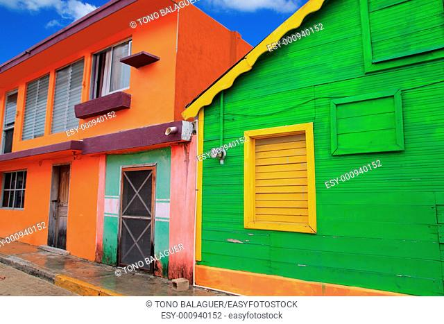 colorful Caribbean houses tropical vivid colors Isla Mujeres Mexico