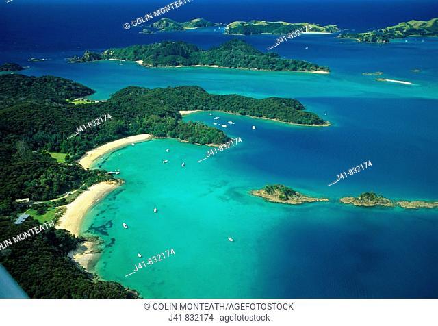 Moturua Island Bay of Islands from the air New Zealand