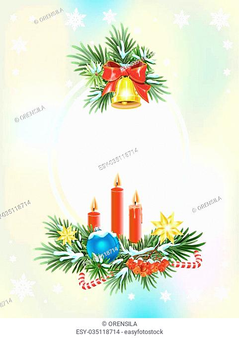 Fir branches, red ribbon and golden bell. Christmas card template. Illustration in vector format