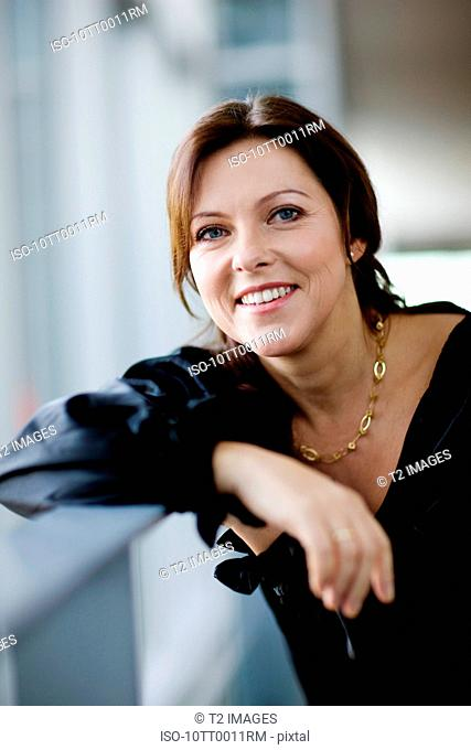 Average business woman smiling