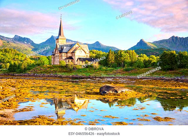 Lofoten Cathedral or Vagan Church in Kabelvag, Norway
