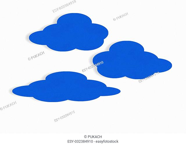 Blue velvet paper clouds on white. Cloud computing concept