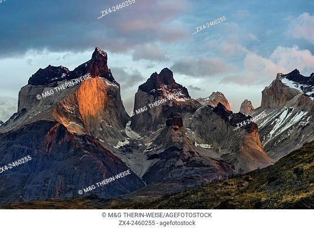 Sunrise over Cuernos del Paine, Torres del Paine National Park, Chilean Patagonia, Chile