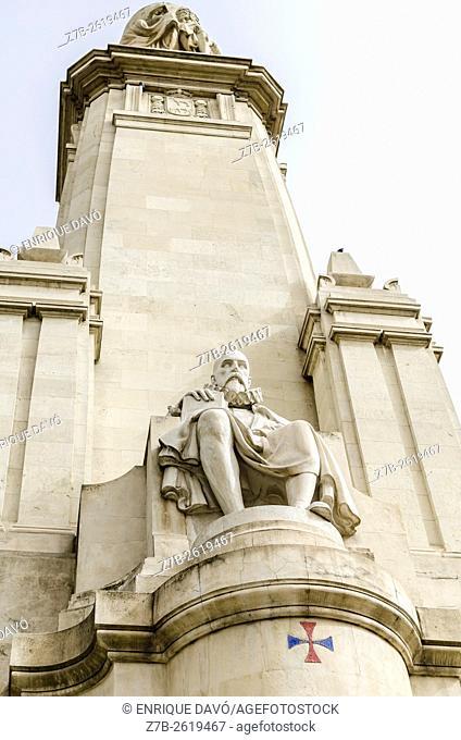 A Cervantes statue down view in Plaza de España, Madrid city, Spain