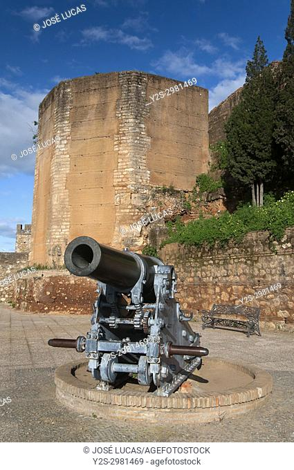 Ancient walls and cannon, Niebla, Huelva province, Region of Andalusia, Spain, Europe