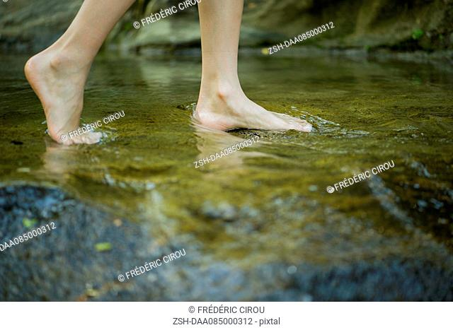 Person wading barefoot in stream, cropped