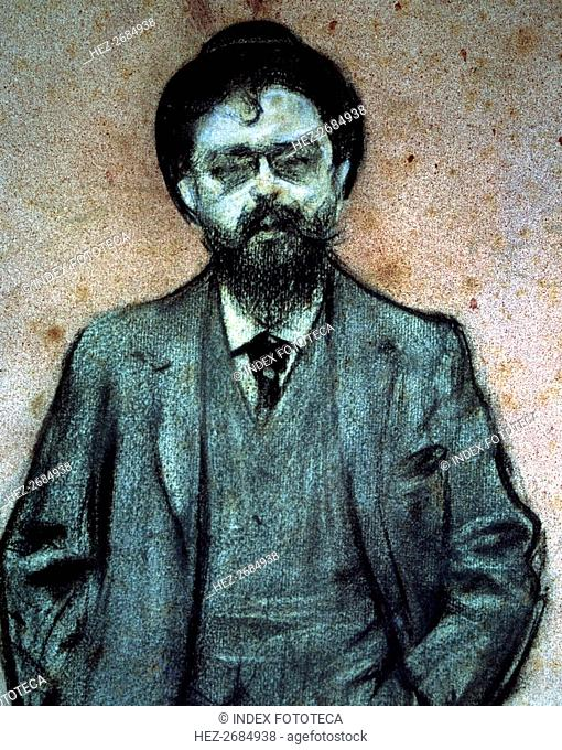 Portrait of Isaac Albéniz (1860-1909), Spanish composer, charcoal drawing by Ramon Casas