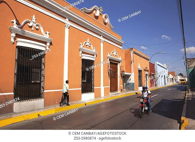 View to the colorful colonial buildings in the city center, Merida, Yucatan Province, Mexico, Central America