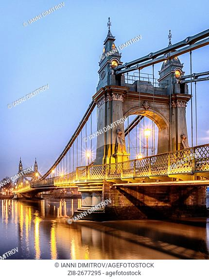 Hammersmith Bridge at Night,London,UK