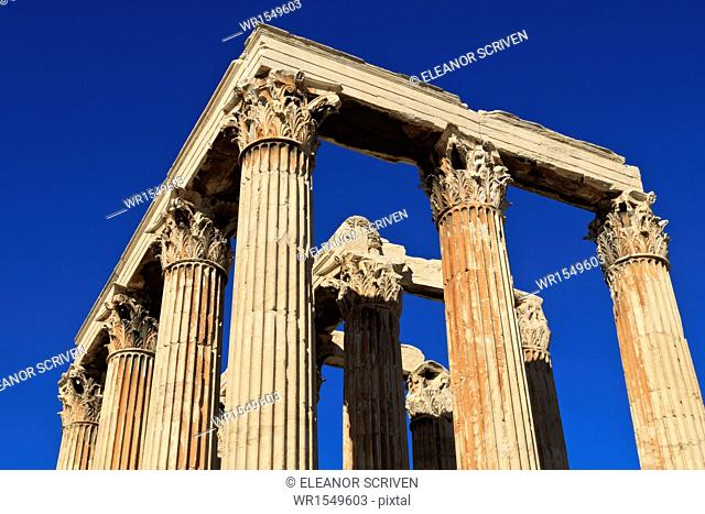 Standing Corinthian columns, early morning, Temple of Olympian Zeus, Athens, Greece, Europe
