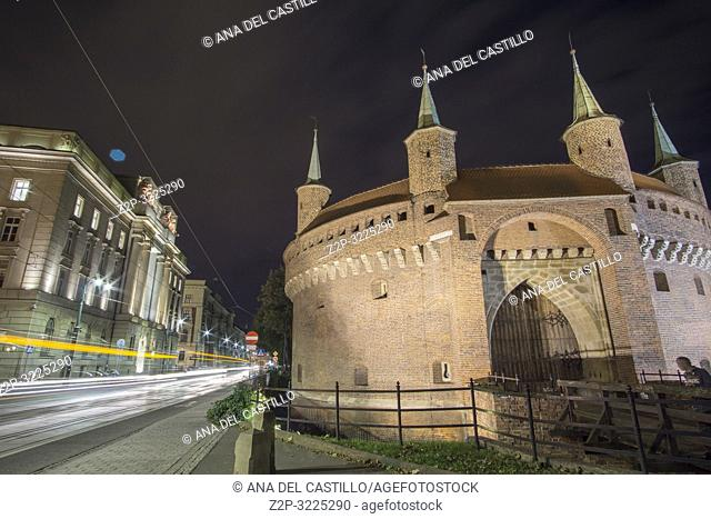 The Arsenal defensive building in Krakow by night Poland