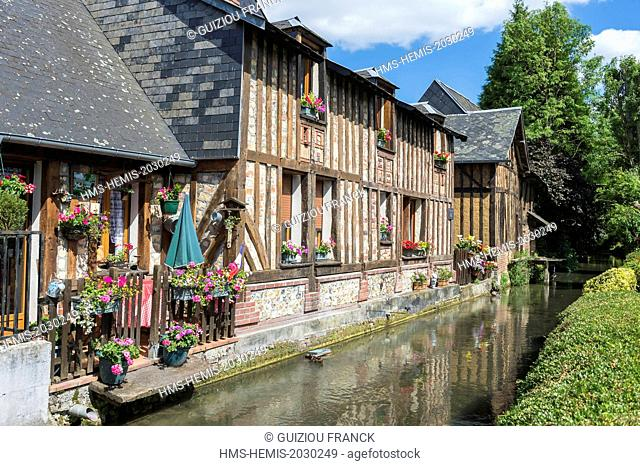 France, Eure, Cormeilles, old flax dryer along the Calonne river