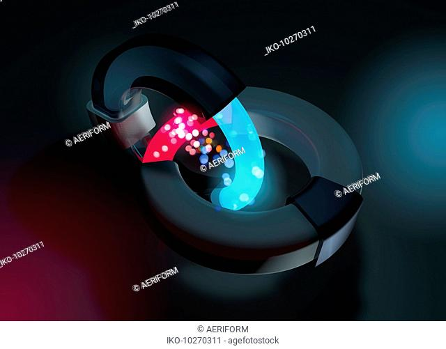 Interconnected rings and glowing energy particles