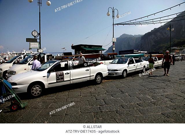 WHITE STRETCH TAXI'S; MARINA GRANDE, ISLAND OF CAPRI, ITALY; 17/09/2011