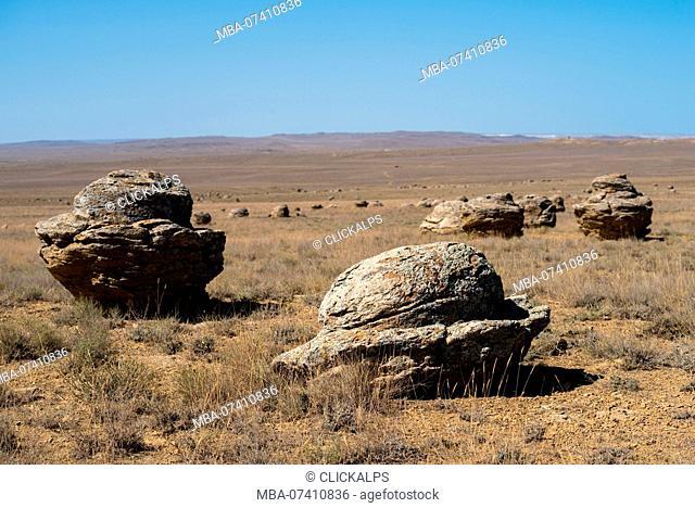 Geological spherical rock formations at Valley of Balls at Caspian Depression desert, Aktau, Mangystau region, Kazakhstan