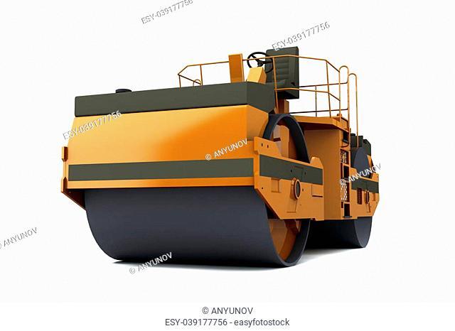 Orange paver machine isolated on white background