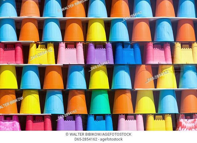 Ireland, County Galway, Galway-Salthill, toy beach sand buckets