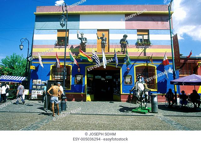 Colorful building of Ala Boca, art area for tourists in Buenos Aires, Argentina
