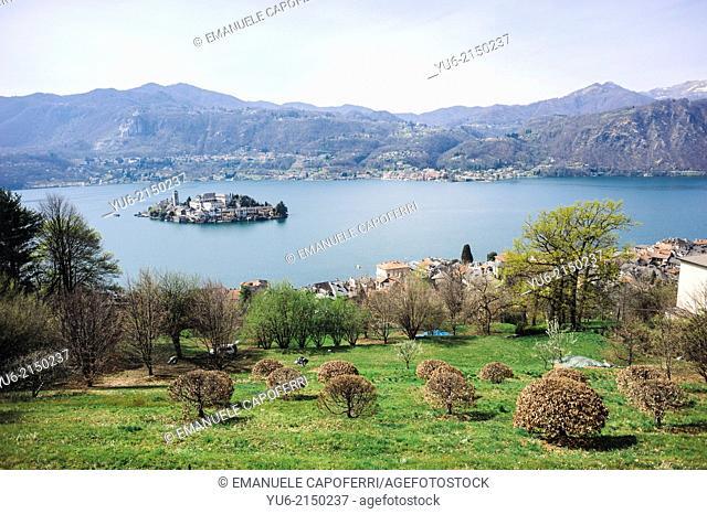 View of the lake with Orta San Giulio island from Orta Sacro Monte, Orta, Lake Orta, Piedmont, Italy