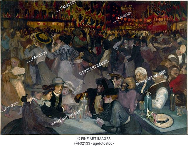 The Ball on the 14th of July by Steinlen, Théophile Alexandre (1859-1923)/Oil on canvas/Art Nouveau/1889/Schwitzerland/Petit Palais