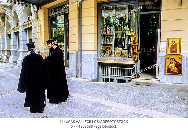 Orthodox priests in A.G Filotheis street, Athens, Greece, Europe