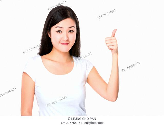 Young woman show thumb up