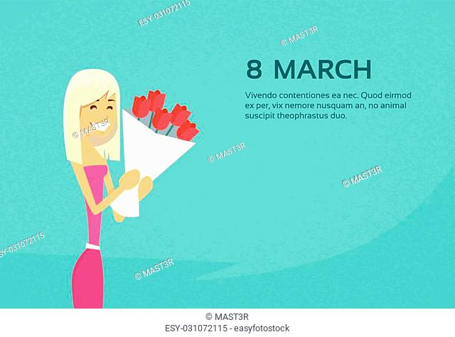 Woman Hold Rose Flower Bouquet 8 March Copy Space Flat