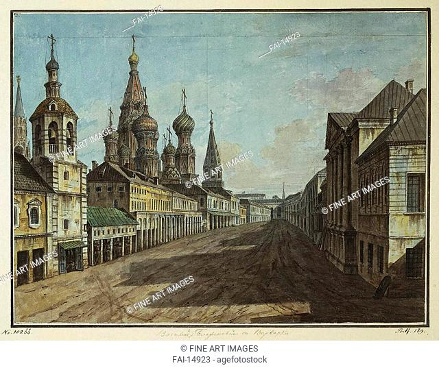View of the Cathedral of St Basil the Blessed from Varvarka Street. Alexeyev, Fyodor Yakovlevich (1753-1824). Watercolour and ink on paper. Classicism