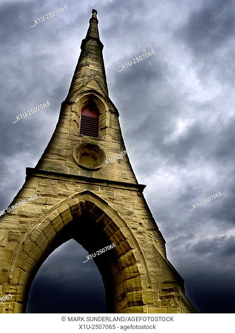 Remaining Spire of Demolished Chapels at Amble East Cemetary Amble by the Sea Northumberland England