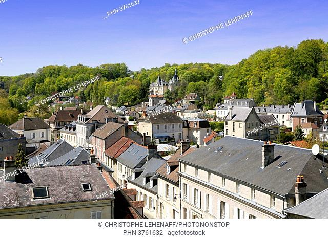 Oise. Pierrefonds. View of the city center