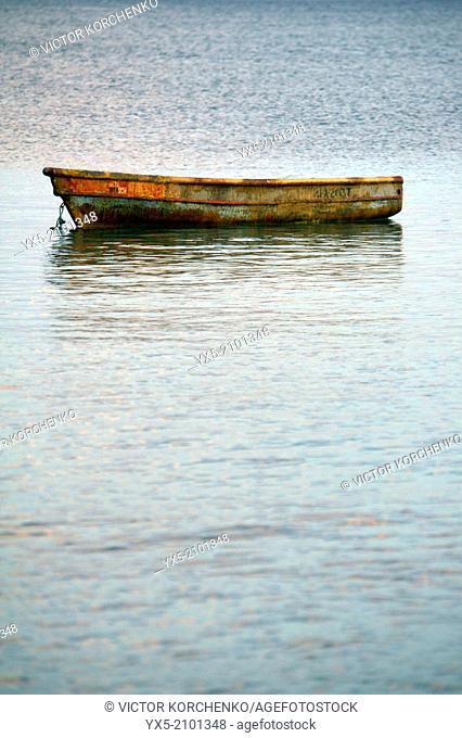 Fishing boat on the sea near the village of Farallon, Cocle Province, Panama
