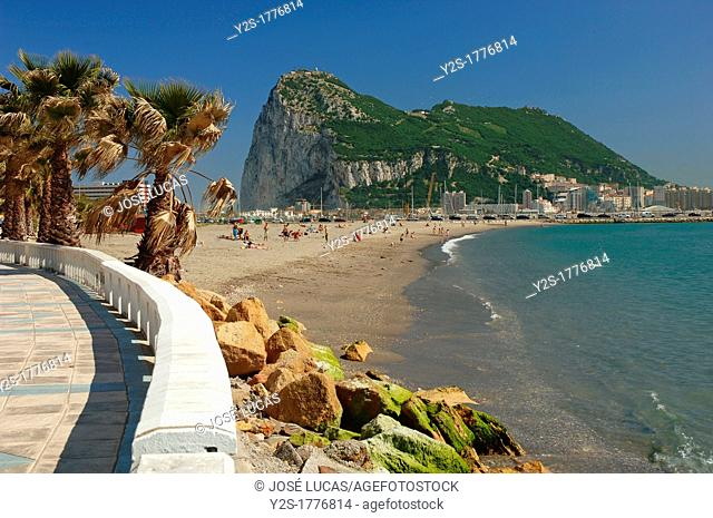 Poniente beach and Rock of Gibraltar, La Linea de la Concepcion, Cadiz-province, Spain